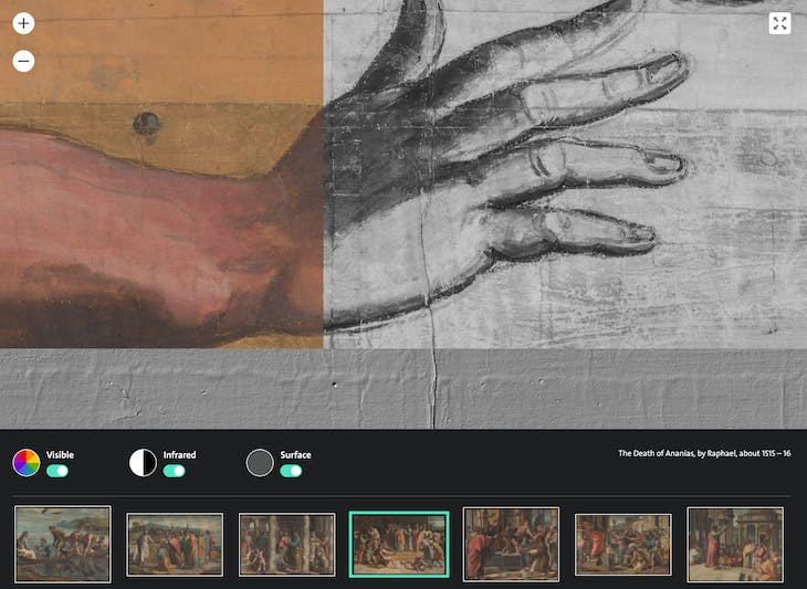Screenshot of the V&A's interactive website, showing colour, 3D and infrared detail of the The Death of Ananias.