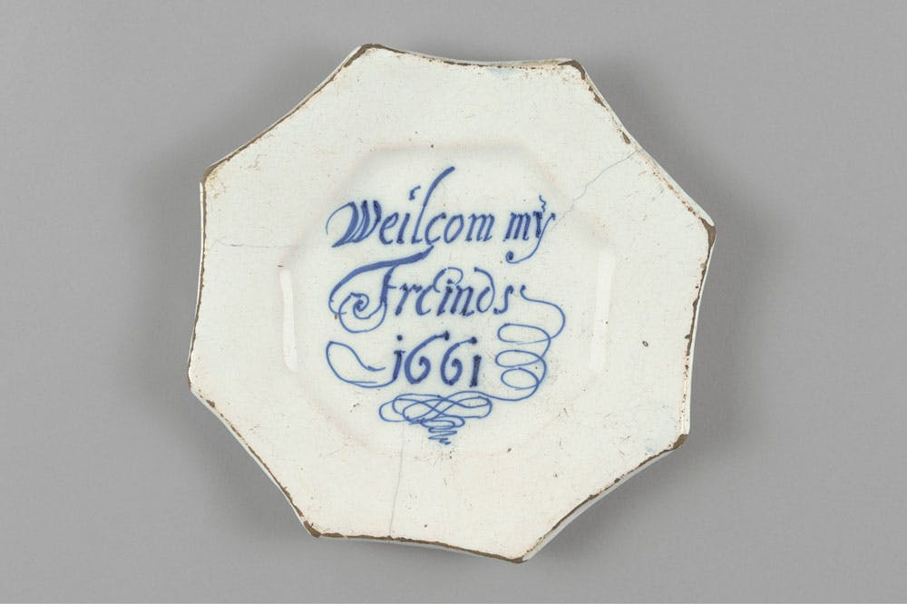 Delftware plate (1661). The Bryan Collection, Lake Bluff, Illinois.