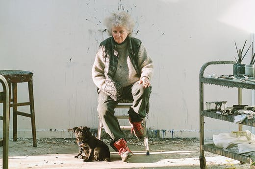 Maggi Hambling, photographed with her pug, Peggy, in November 2020.