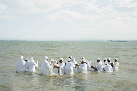 Mass Baptism, Southend-on-Sea (detail) (2013) in 'Thames Log' by Chloe Dewe Mathews. © Chloe Dewe Mathews