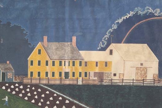 Farmstead in Passing Storm (detail; 1849), unidentified artist.