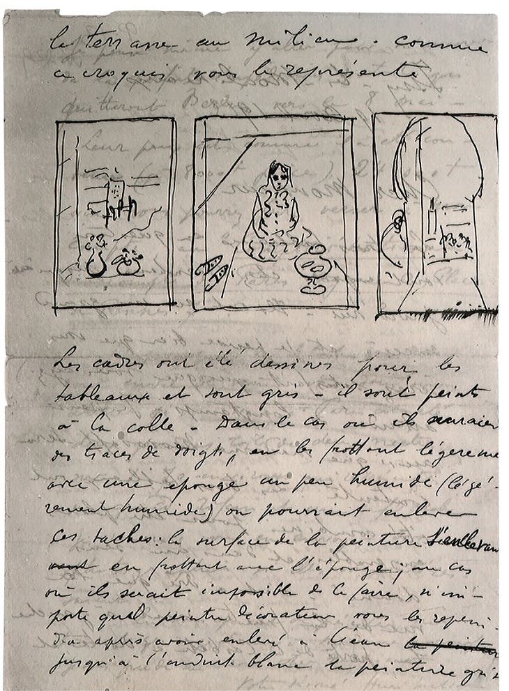 with accompanying sketch, the panels of the Triptyque Marocain. Pushkin Museum archives, Moscow