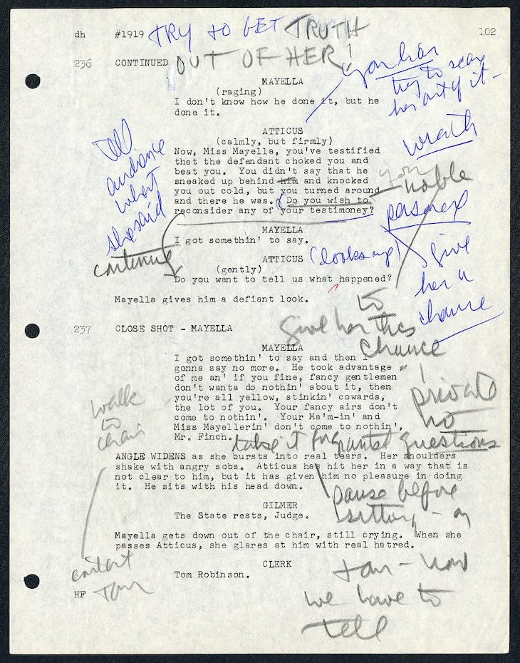 Page from the script for To Kill a Mockingbird (1962), annotated by Gregory Peck.