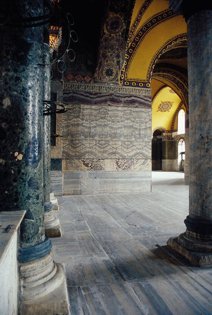 The North Gallery of Hagia Sophia, Istanbul, with 'accordian' style book-matched marble slabs on the far wall.