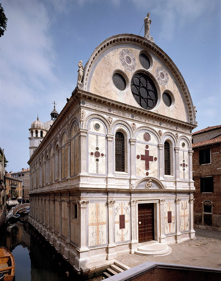 The facade of Santa Maria dei Miracoli, Venice, by Pietro Lombardo and others, built 1481–87 and clad in 10 varieties of marble.