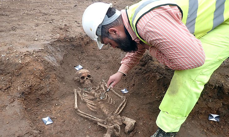 Medieval human remains discovered at a site in Cambridge that has been described as 'one of the most exciting finds of Anglo-Saxon archaeology since the 19th century'. Photo courtesy Albion Archaeology