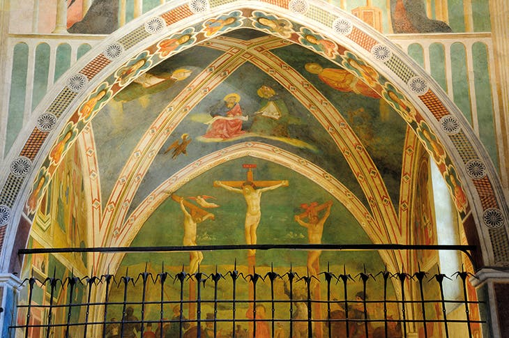 The Castiglione Chapel in the Basilica di San Clemente, Rome, with frescoes by Masolino da Panicale depicting the lives of Saint Catherine of Alexandria (left wall) and Saint Ambrose of Milan.