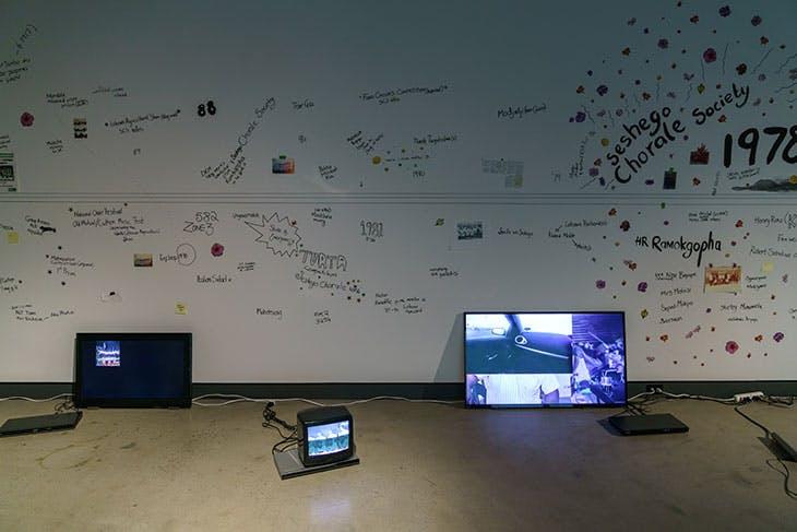 Sa koša ke lerole (Polokwane Choral Society Archive Project) (2016–ongoing), Dineo Seshee Bopape. Installation view at La Biennale de Montréal, 2016.