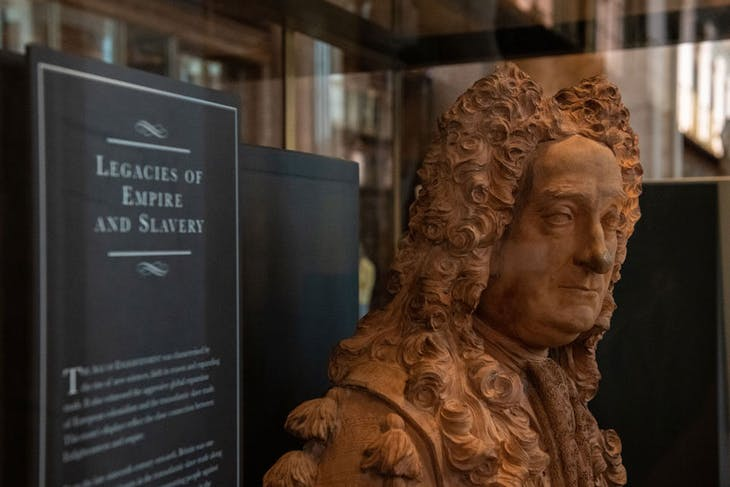 A new home for Hans Sloane: the bust of the British Museum founder is displayed in a vitrine exploring the 'legacies of empire and slavery', installed during the lockdown of spring 2020.