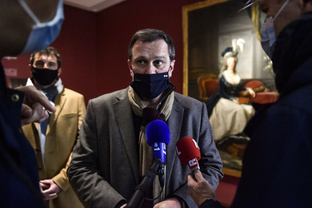 Mayor Louis Aliot at the Hyacinthe Rigaud Museum, Perpignan, on 9 February.
