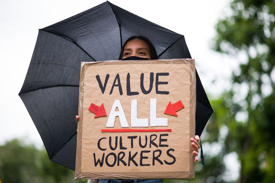 Gloomy forecast: at a protest against job cuts in the culture sector in summer 2020.