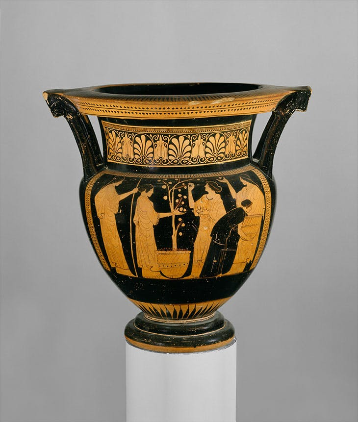 Terracotta column-krater (bowl for mixing wine and water; c. 460 BC), attributed to the Orchard Painter. Metropolitan Museum of Art, New York
