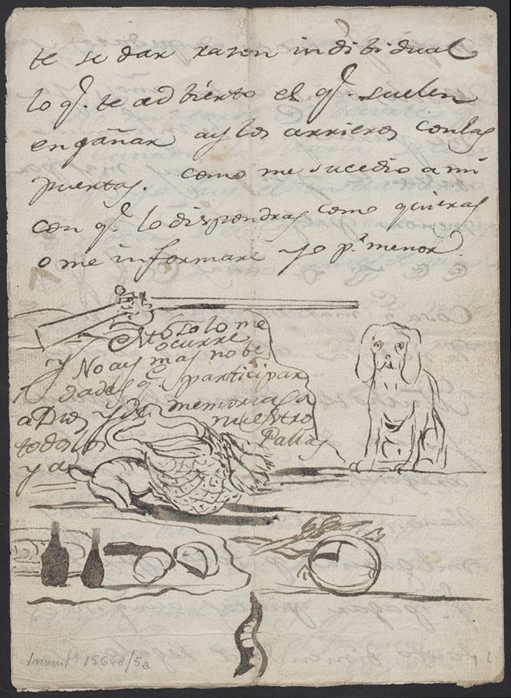 Letter written by Goya to Martín Zapate, from between 1783–89. Biblioteca Lázaro Galdiano, Madrid.