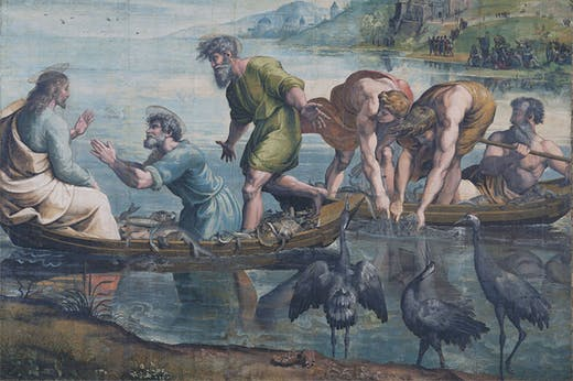 The Miraculous Draught of Fishes (detail; 1515–16), Raphael. Photo: © V&A; courtesy Royal Collection Trust/HM Queen Elizabeth II 2021