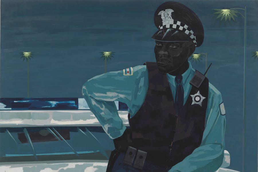 Untitled (policeman) (detail; 2015), Kerry James Marshall.