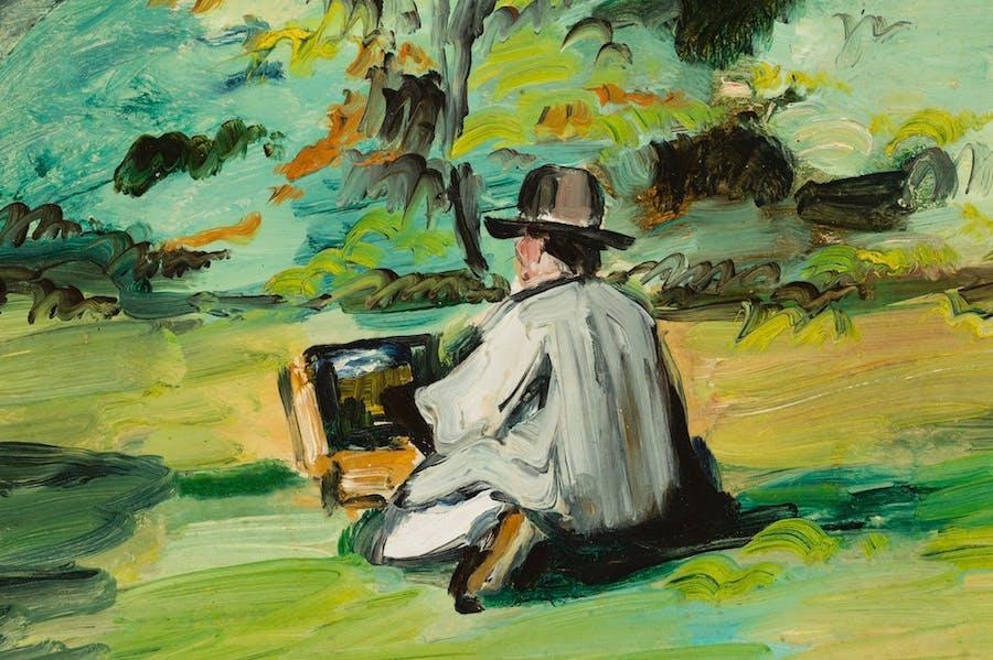 A Painter at Work (Justin Gabet) (detail; c. 1874–75), Paul Cézanne.