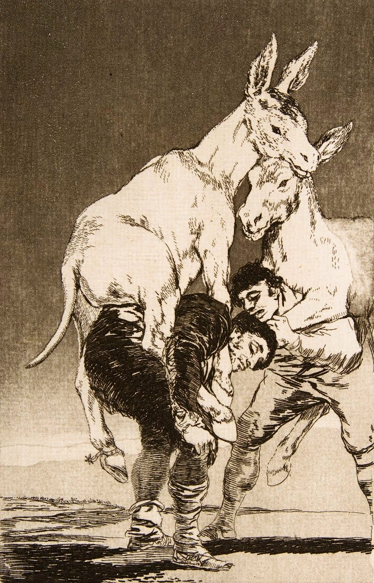 Plate 42 from Los Caprichos: Thou who canst not (1799), Francisco de Goya.