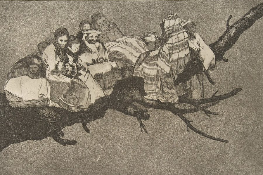 Plate 3 from the 'Disparates': Ridiculous Folly (c. 1815–19), Francisco de Goya.