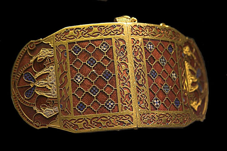 An Anglo-Saxon shoulder clasp from the Sutton Hoo ship burial. British Museum.