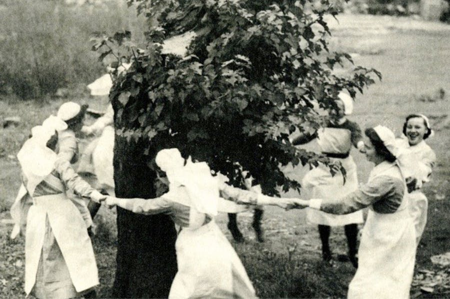 Nurses dance around the Bethnal Green mulberry in 1944, three years after it was bombed.