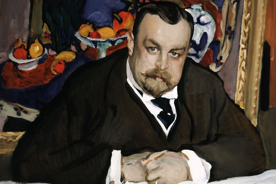 Portrait of the Collector of Modern Russian and French Paintings, Ivan Abramovich Morozov (detail; 1910), Valentin Serov. Courtesy Tretyakov Gallery, Moscow