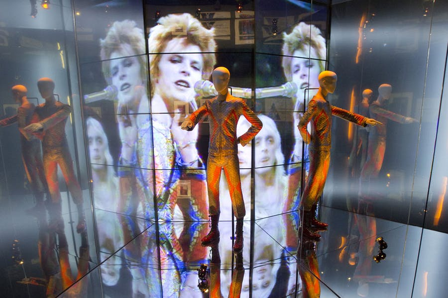 Installation view of 'David Bowie Is' at the Victoria and Albert Museum, London, in 2013.