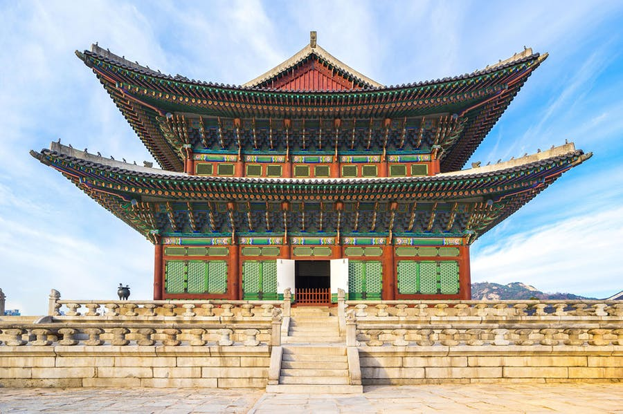 A room with a view: upon arriving in Seoul, art critic Andrew Russeth quarantined in a hotel room with views of landmarks including Gyeongbokgung Palace.