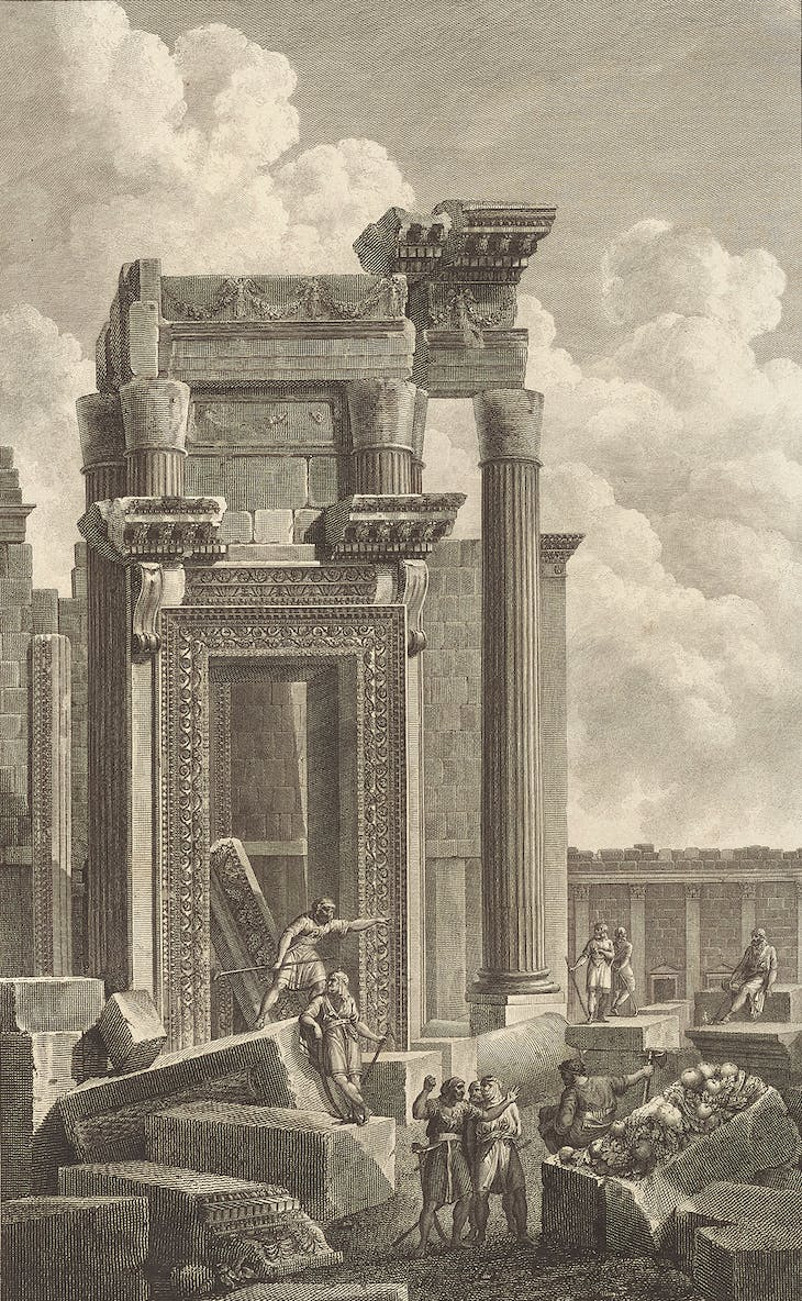 Temple of Bel, cella entrance (c. 1799), Jean-Baptiste Réville and Pierre Gabriel Berthault after Louis-François Cassas.