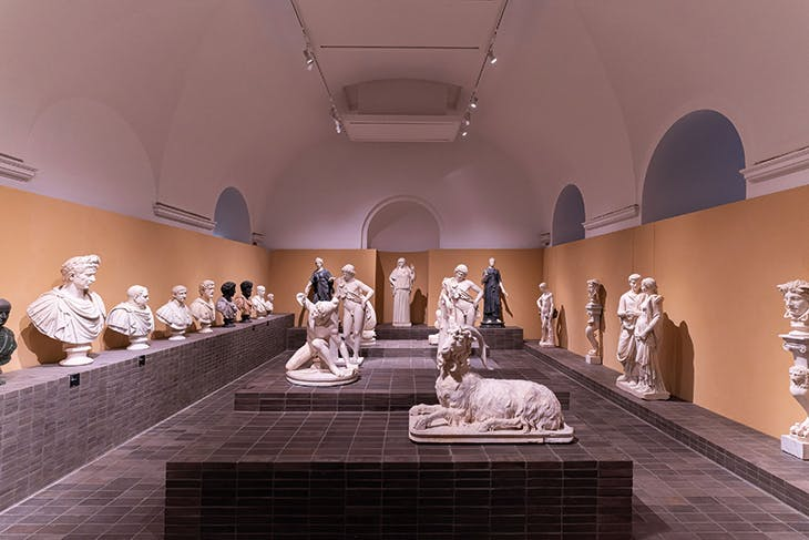 Room 7 of 'The Torlonia Marbles' at the Villa Caffarelli, Rome, displaying sculptures that came from the Giustiniani collection