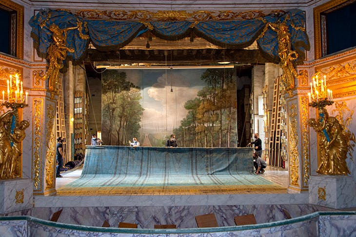 The stage curtain during restoration, with a 19th-century forest backdrop painted by Pierre-Luc-Charles Cicéri and his workshop.