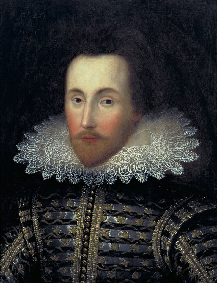 The Jannsen portrait (early 1610s; altered before 1770), unknown artist. Folger Shakespeare Library, Washington, D.C.