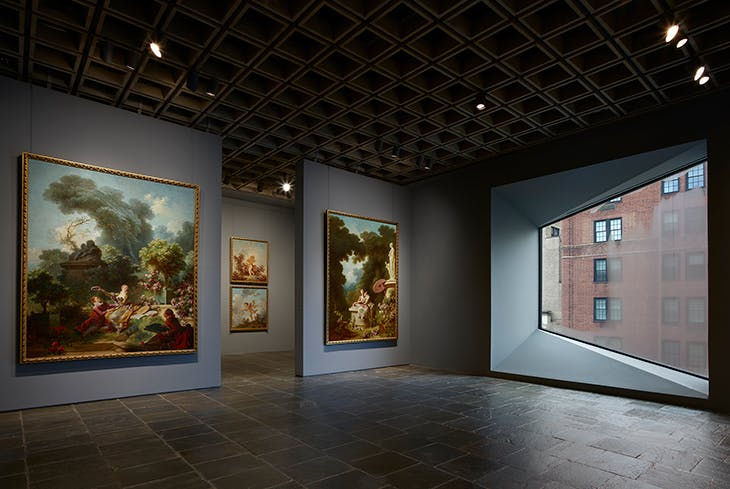 Four panels of Fragonard's series The Progress of Love on the fourth floor of the Frick Madison.