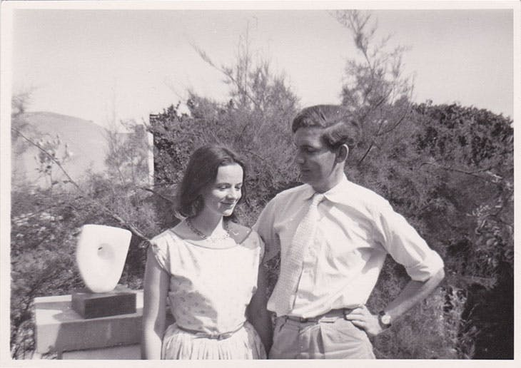 Alan Bowness with Sarah Hepworth-Nicholson in Barbara Hepworth's garden, Trewyn Studio, St Ives (c. 1958)