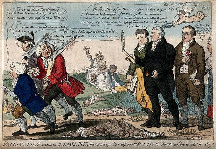 Vaccination against Smallpox (1802), Isaac Cruikshank. Wellcome Collection, London (CC BY 4.0)