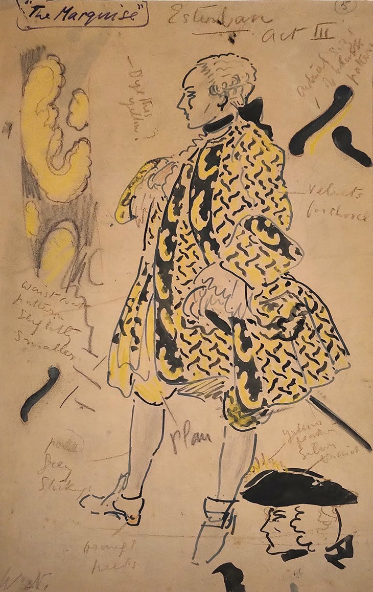 Costume design by William Nicholson for Esteban in Act III of The Marquise (1927).