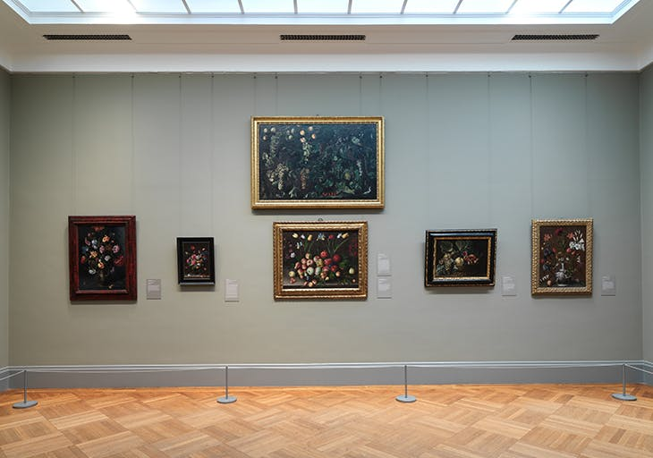 Installation view of Gallery 627, dedicated to still lifes, with works by Clara Peeters and Orsola Maddalena Caccia.