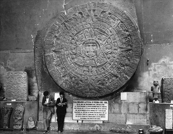 The Aztec sun stone at the Museo Nacional de Antropología in Mexico City, photographed in c. 1930.