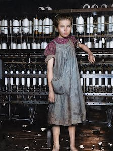 Digital colourisation of Lewis Hine's photograph of Addie Card by Marina Amaral.