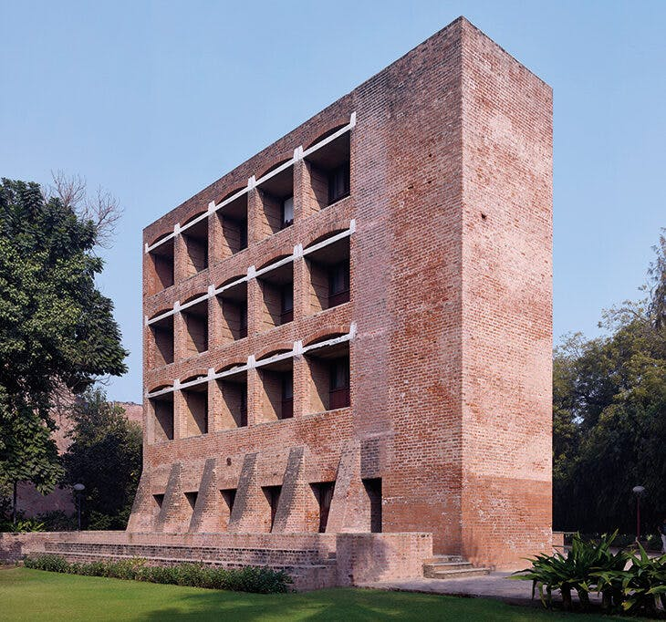 A dormitory building at the Indian Institute of Management, Ahmedabad (1962–74), designed by Louis Kahn.
