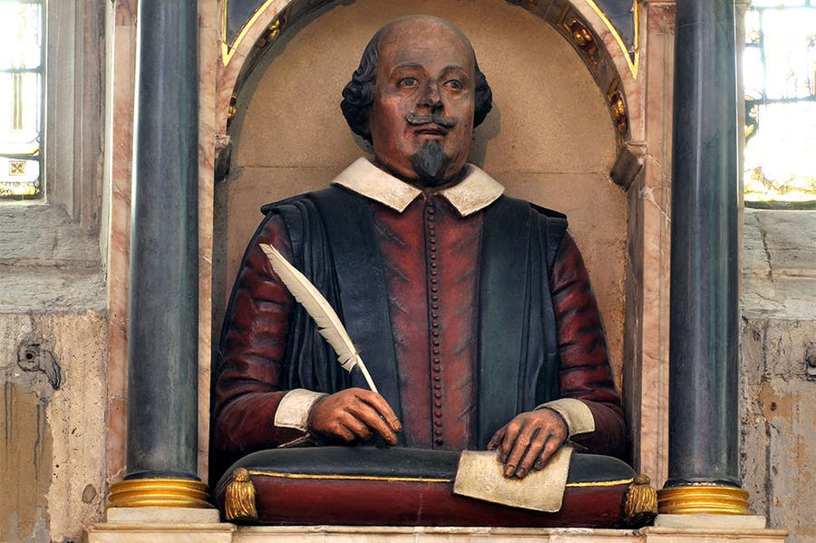 Will the real William Shakespeare please stand up? The effigy above the playwright's grave in Holy Trinity Church, Stratford-upon-Avon.