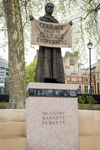 Statue of Millicent Garrett Fawcett (2018) by Gillian Wearing in Parliament Square, London.