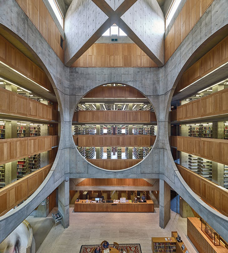 Phillips Exeter Academy Library, Exeter, New Hampshire (1965–72), designed by Louis Kahn.