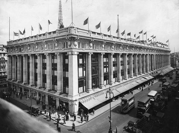 Selfridges on Oxford Street, London, designed by Daniel Burnham with later additions by R.F. Atkinson and T.S. Tait of Sir John Burnet & Son and photographed in 1929 by Sydney W. Newbury.