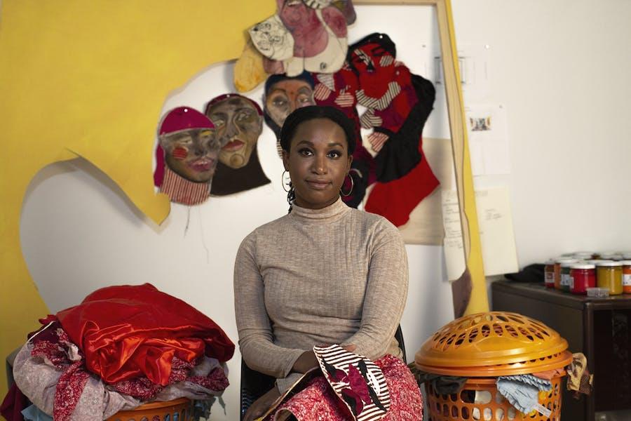 Tschabalala Self in her studio. Photo: Madeleine-Hunt Ehrlich