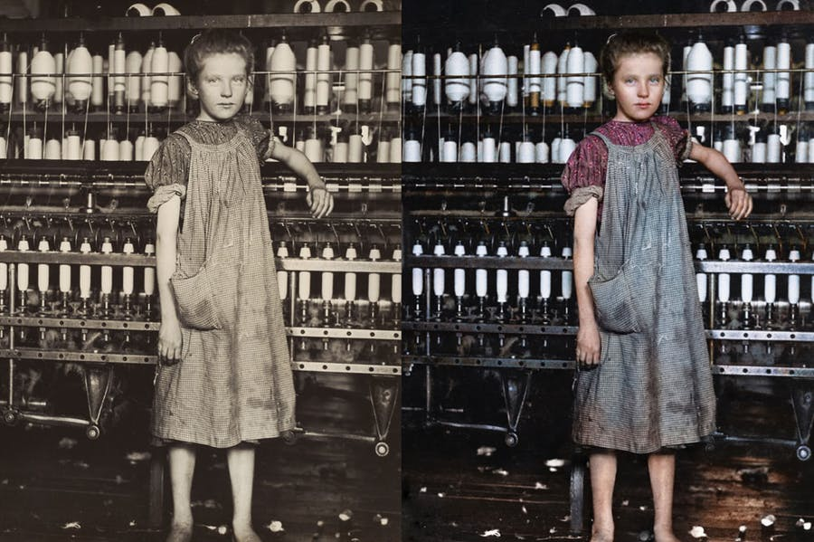 Left: Addie Card, 12 Years Old, Spinner in cotton mill, North Pownal, Vermont (1910), Lewis Hine. National Gallery of Art, Washington, D.C. Right: Digital colourisation of Lewis Hine's photograph of Addie Card by Marina Amaral. Photo: © Marina Amaral