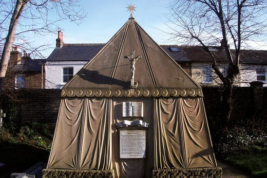 The tomb of Richard and Isabel Burton at the church of St Mary Magdalen, Mortlake, built 1891.