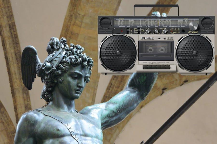 Broadcasting legend? Cellini's Perseus plus boombox