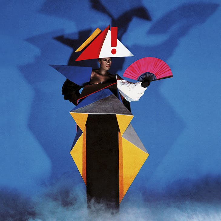 Constructivist waiting dress from The Grace Jones Show (1979), Jean-Paul Goude in collaboration with Antonio Lopez.