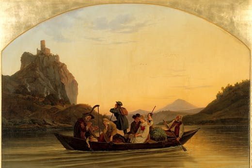 Ferry at the Schreckenstein Castle (1837), Ludwig Richter.