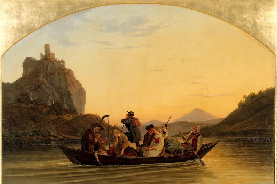 Ferry at the Schreckenstein Castle (1837), Ludwig Richter.